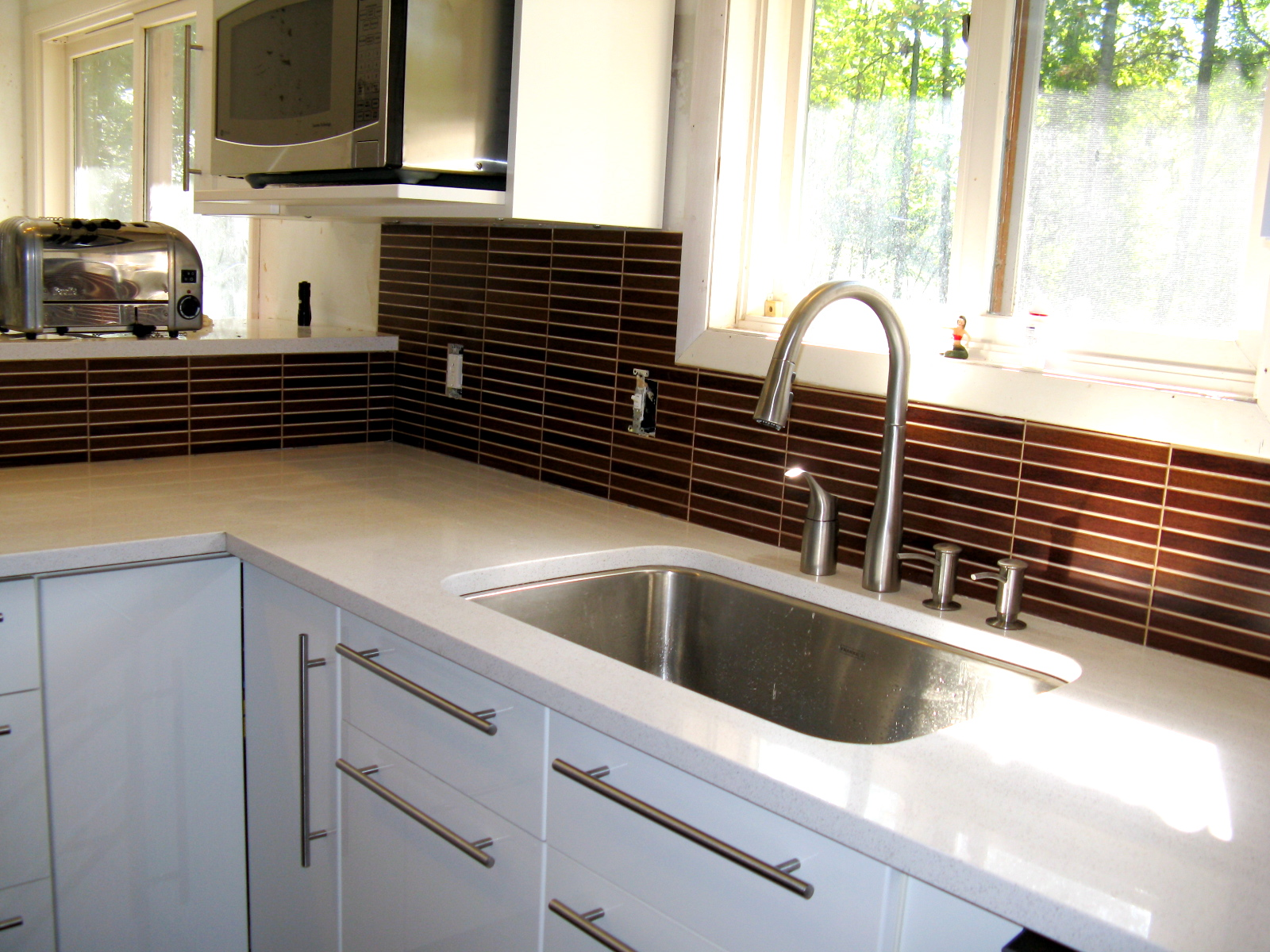 with refrigerator wooden countertops kitchen island cabinets metal minimalist gray table and ikea chrome originalviews