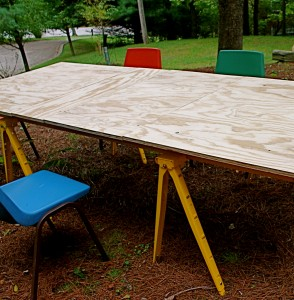 $50/Pair Yelow Trestles/Sawhorses from Lowes