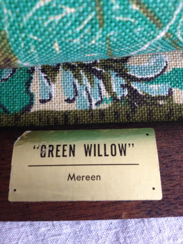 Green Willow barkcloth wall hanging Breton Fabrics NYC