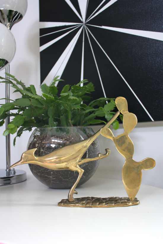 Brass Roadrunner with Cactus