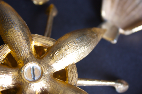 Modfrugal vintage brass TAN ashtray reomavable petals