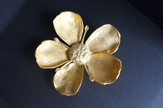 Modfrugal vintage brass TAN ashtray removable  petals