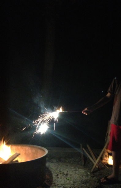 Sparklers by the fire